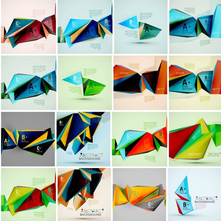 icosahedron: Set of triangle geometric 3d forms. Modern info banner abstract backgrounds, message presentations or identity layouts