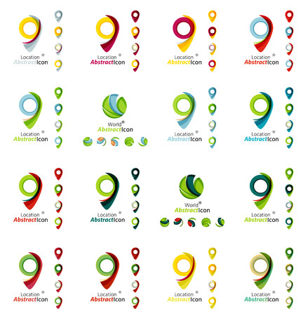 points of interest: Set of map tag logo icons. Business, app, web design symbol template