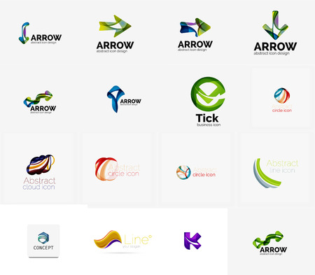 new company: Set of new universal company logo ideas, geometric business icon collection - alphabet letters, swirl waves and other shapes