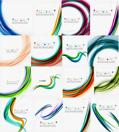 Set of colorful flowing motion abstract backgrounds. Smooth futuristic wave layouts. Business, technology message, presentation or identity