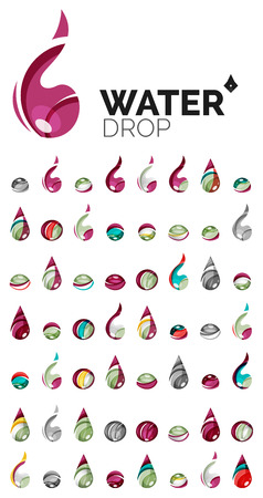 waterdrops: Large set of abstract eco water icons, business logotype nature green concepts, clean modern geometric design. Created with transparent abstract wave lines