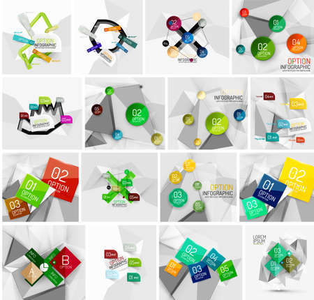 versions: Set of abstract geometric paper effect infographic banner templates. Business presentations, backgrounds, option infographics or advertising banner layouts