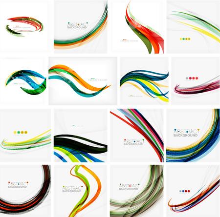curvas: Conjunto de fondos abstractos. C�rculos, remolinos y olas con copyspace para su mensaje. Dise�os publicitarios Banner - plantillas, identidad y fondos de pantalla Vectores
