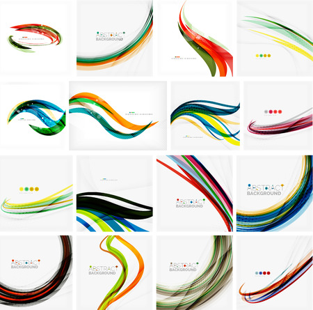 smooth curve design: Set of abstract backgrounds. Circles, swirls and waves with copyspace for your message. Banner advertising layouts - templates, identity and wallpapers