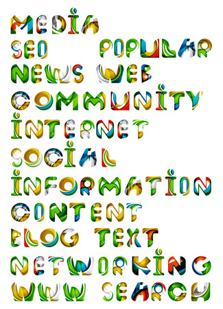 recommend: Social media in the internet - words, tags. Flowing wave design of letters