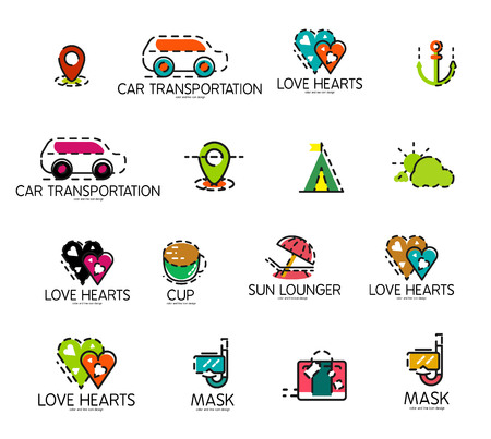 excursions: Set of abstract travel icons. Business, app or internet web symbols. Thin lines and colors with white Illustration