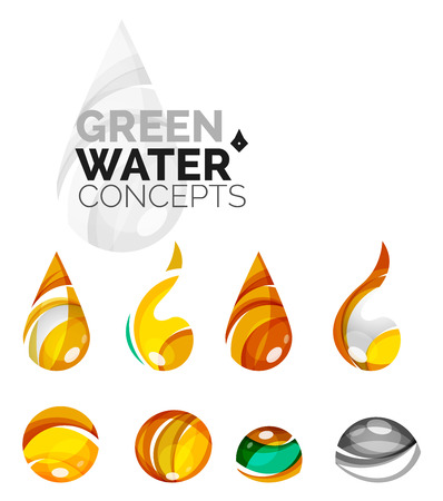 distilled water: Set of abstract eco water icons, business icon nature green concepts, clean modern geometric design. Created with transparent abstract wave lines