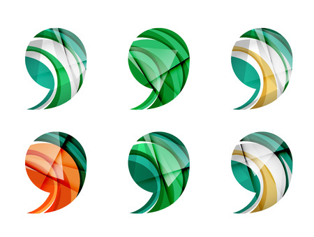 comma: Set of abstract comma icon, business icon concepts, clean modern geometric design. Created with transparent abstract wave lines
