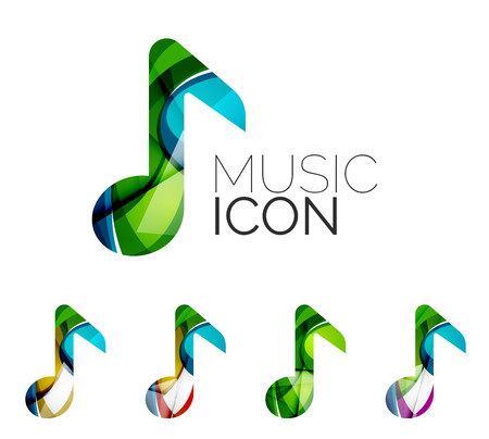 classical music: Set of abstract music note icon, business icon concepts, clean modern geometric design. Created with transparent abstract wave lines Illustration