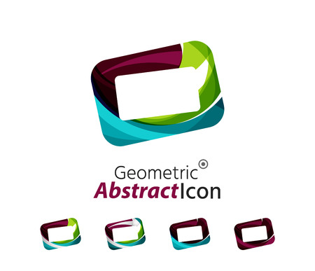 graphic display cards: Set of abstract geometric company icon frames, screens. Vector illustration of universal shape concept made of various wave overlapping elements