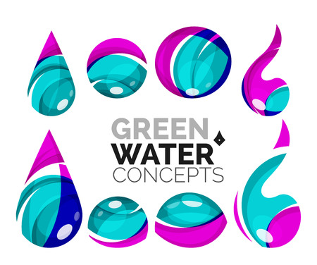 distilled: Set of abstract eco water icons, business icon nature green concepts, clean modern geometric design. Created with transparent abstract wave lines