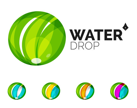waterdrops: Set of abstract eco water icons, business icon nature green concepts, clean modern geometric design. Created with transparent abstract wave lines
