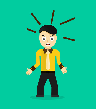 afraid man: Angry young cartoon businessman or office worker. Flat design. Vector illustration