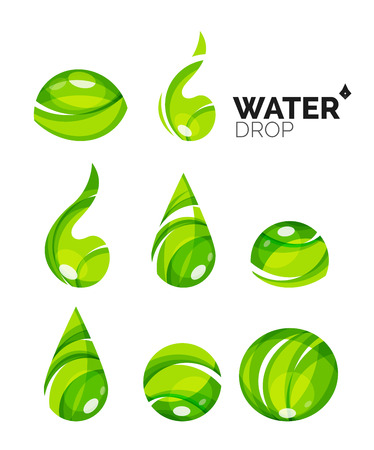 waterdrops: Set of abstract eco water icons, business nature green concepts, clean modern geometric design. Created with transparent abstract wave lines