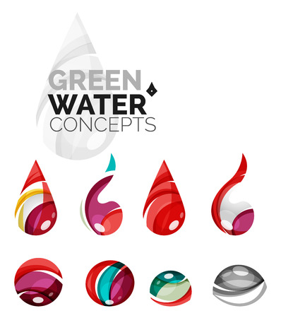 distilled: Set of abstract eco water icons, business nature green concepts, clean modern geometric design. Created with transparent abstract wave lines