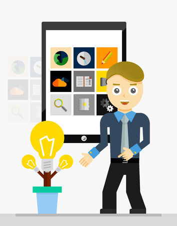 growing plant: Mobile app startup idea concept. Young businessman showing growing plant of light bulbs. Vector illustration