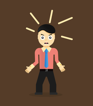angry businessman: Angry young cartoon businessman or office worker. Flat design. Vector illustration