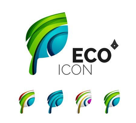 eco icon: Set of abstract eco leaf icons, business logotype nature concepts, clean modern geometric design. Created with transparent abstract wave lines Illustration