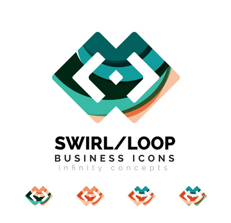 looped shape: Set of infinity concepts, loop logo designs. Modern color flowing wave design on white Illustration