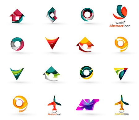 arrow logo: Set of various geometric icons -  rectangles triangles squares or circles. Made of swirls and flowing wavy elements. Business, app, web design logo templates.