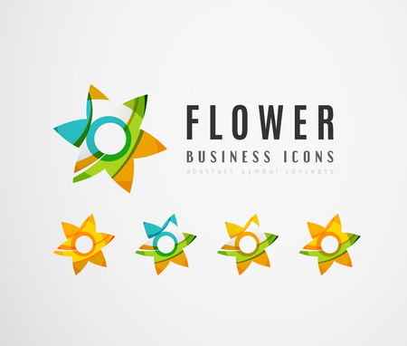 star icon: Set of abstract flower logo business icons. Created with overlapping colorful abstract waves and swirl shapes Illustration