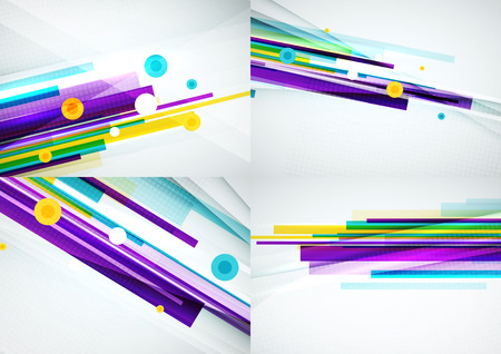 overlapping: Set of colorful abstract backgrounds. Overlapping color straight lines on light backdrop with art effects