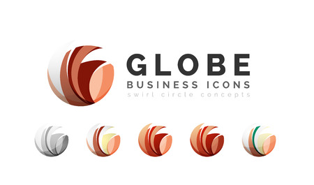 globe logo: Set of globe sphere or circle logo business icons. Created with overlapping colorful abstract waves and swirl shapes