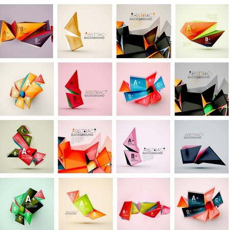 architecture abstract: Set of triangle geometric 3d forms. Modern info banner abstract backgrounds, message presentations or identity layouts