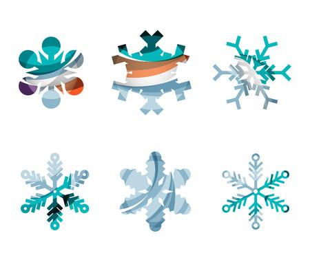 copo de nieve: Conjunto de fondos coloridos iconos logo copo de nieve, invierno, conceptos de diseño geométrico moderno limpio. Creado con las líneas abstractas transparentes Vectores