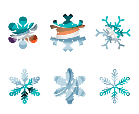 frozen waves: Set of abstract colorful snowflake logo icons, winter concepts, clean modern geometric design. Created with transparent abstract lines