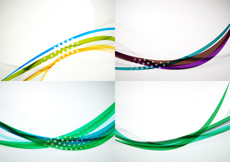 Set of abstract backgrounds. Elegant colorful decorated lines and waves with copyspace for your message. Banner advertising layouts - templates and wallpapers 版權商用圖片 - 45432989