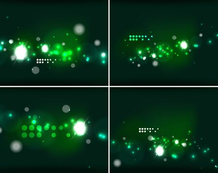 dark backgrounds: Set of abstract backgrounds with copyspace. Glowing color neon light in dark space. Banner advertising layouts - colorful templates and wallpapers