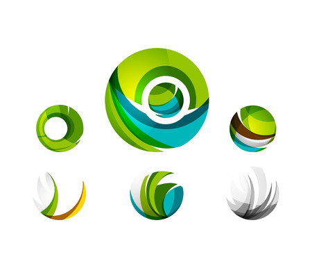 global communication: Set of globe sphere or circle logo business icons. Created with overlapping colorful abstract waves and swirl shapes