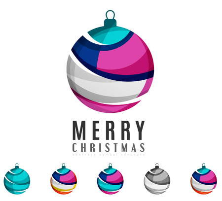 clean: Set of abstract Christmas ball icons, business logo concepts, clean modern geometric design. Created with transparent abstract lines