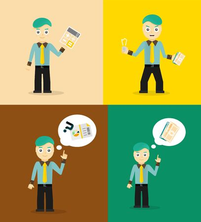 financial consultant: Set of cute cartoon young businessmen. Idea concept and finance report graph. Vector flat design