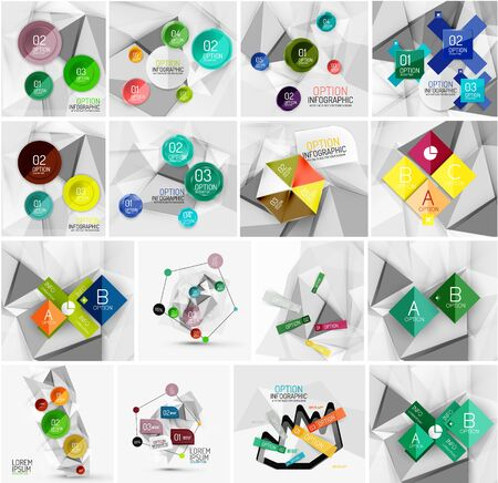 versions: Set of abstract geometric infographic banner templates. Business presentations, backgrounds, option infographics or advertising layouts