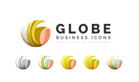 digital world: Set of globe sphere or circle logo business icons. Created with overlapping colorful abstract waves and swirl shapes