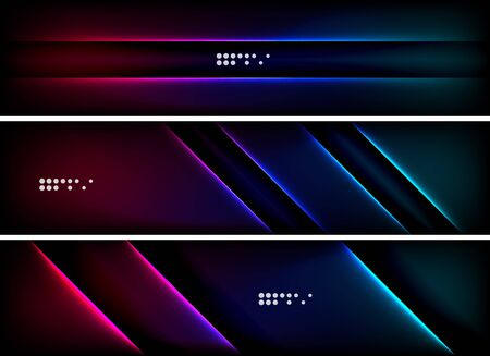 advertising space: Set of banner, header backgrounds with place for your message. Glowing color neon light lines in dark space. Advertising layouts.