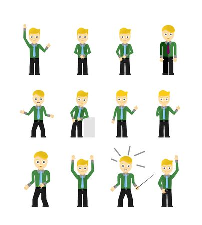 character poses: Set of cute young businessmen character poses isolated on white. Vector illustration