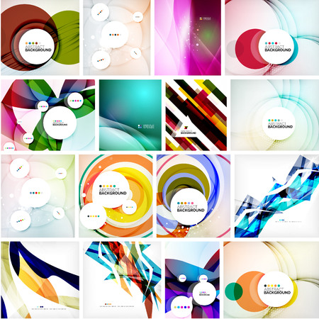 green technology: Set of abstract backgrounds. Circles, swirls and waves with copyspace for your message. Banner advertising layouts - templates, identity and wallpapers