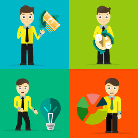 career up: Set of businessman pose character concepts. Step, world, office and charts. Flat design