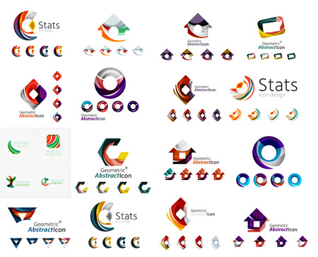 abstract letters: Mega collection of various abstract business emblems. Universal icon set for any idea concepts geometric shapes loops, circles, triangles and letters