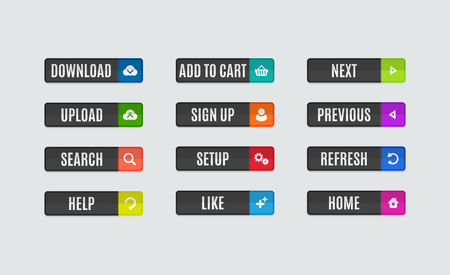 navigation buttons: Set of modern flat design website navigation buttons. Rectangle shape. Help like search download upload setup sign up add to cart next previous refresh home icons Illustration