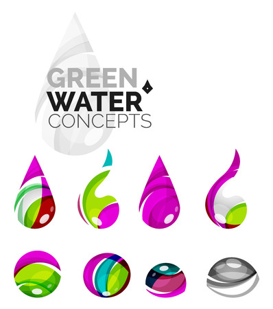 distilled: Set of abstract eco water icons, business logotype nature green concepts, clean modern geometric design. Created with transparent abstract wave lines Illustration