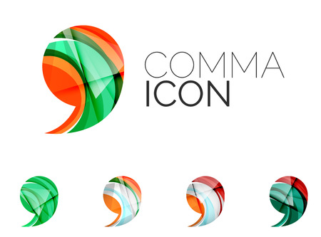 comma: Set of abstract comma icon, business logotype concepts, clean modern geometric design. Created with transparent abstract wave lines