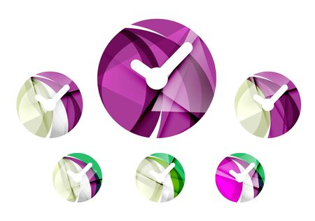 24: Set of abstract watch icon, business logotype concepts, clean modern geometric design. Created with transparent abstract wave lines