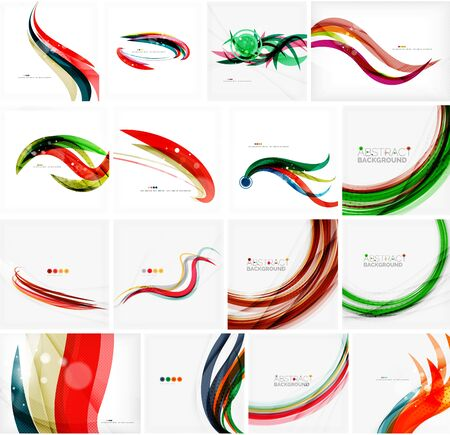 green technology: Set of colorful flowing motion abstract backgrounds. Smooth futuristic wave layouts. Business, technology message, presentation or identity