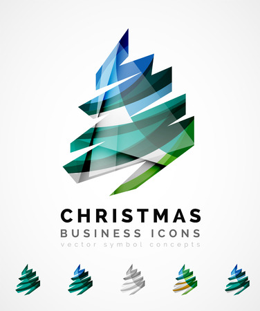 greetings card: Set of abstract Christmas Tree Icons, business logo concepts, clean modern glossy design. Created with transparent abstract wave lines