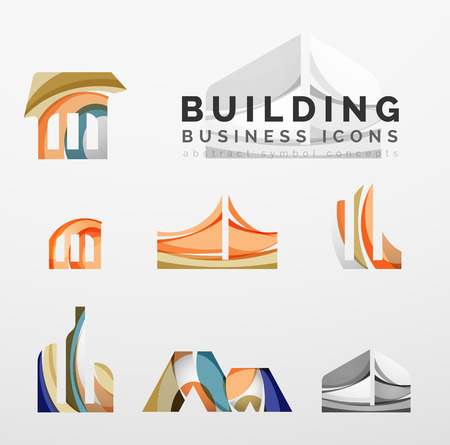 logo batiment: Ensemble de l'immobilier ou bâtiment logo business icons. Créé avec chevauchement vagues abstraites colorées et de formes de turbulence Illustration