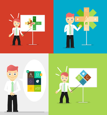 talk show: Young businessman presents his modern option infographic diagram. Set of illustrations. Vector flat design